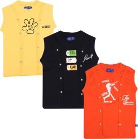 SPN Garments Printed Boy's Round Neck Yellow, Dark Blue, Orange T-Shirt
