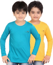 Dongli Solid, Self Design Boy's Round Neck T-Shirt