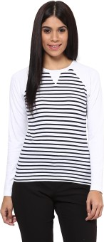 Hypernation Striped Women's Round Neck Blue, White T-Shirt - TSHEGKRVQFZEQQW7