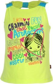 Vitamins Graphic Print Baby Girl's Round Neck Light Green T-Shirt