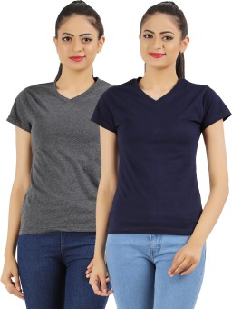 Ap'pulse Solid Women's V-neck Dark Blue, Grey T-Shirt Pack Of 2