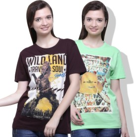 Go India Store Printed Women's Round Neck Light Green, Brown T-Shirt Pack Of 2