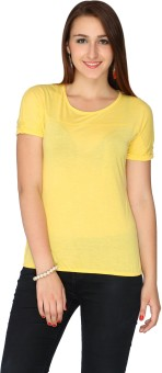 Max Solid Women's Round Neck Yellow T-Shirt