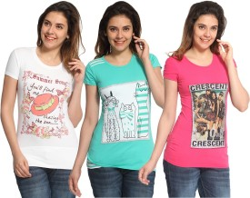 Maatra Printed Women's Round Neck White, Green, Pink T-Shirt Pack Of 3