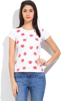 STYLE QUOTIENT BY NOI Printed Women's Round Neck White, Red T-Shirt