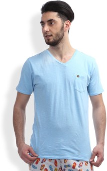 Breakbounce Solid Men's V-neck Blue T-Shirt