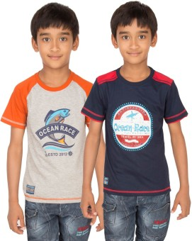 Ocean Race Graphic Print Boy's Round Neck Grey, Dark Blue T-Shirt Pack Of 2