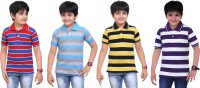 Dongli Striped Baby Boy's Polo Neck Red, Light Blue, Yellow, Purple T-Shirt (Pack Of 4)