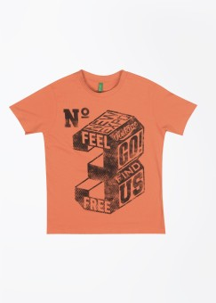 United Colors Of Benetton Printed Boy's Round Neck Orange T-Shirt