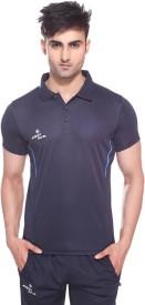 Sport Sun Solid Men's Polo Neck Dark Blue T-Shirt