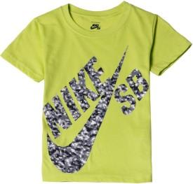 Nike SB Graphic Print Boy's Round Neck Green T-Shirt