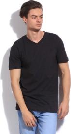 Puma Solid Men's V-neck Grey T-Shirt