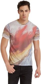 Elaborado Printed Men's Round Neck White, Multicolor T-Shirt