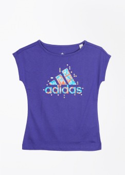 Adidas Printed Girl's, Boy's Round Neck Purple T-Shirt