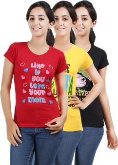 Be Style MSH-OS-104-Multi Printed Women's Round Neck T-Shirt Pack Of 3