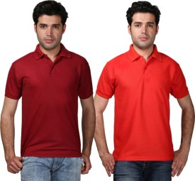 Tageuro Solid Men's Polo Neck Maroon, Red T-Shirt