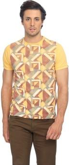 Basics Printed Men's Round Neck Yellow T-Shirt