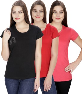 NGT Solid Women's Round Neck Pink, Black, Red T-Shirt Pack Of 3 - TSHEJ3YBYUKXZZHV