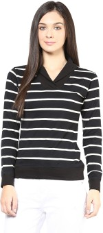 Hypernation Striped Women's Draped Neck T-Shirt