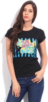 STYLE QUOTIENT BY NOI Printed Women's Round Neck Black T-Shirt