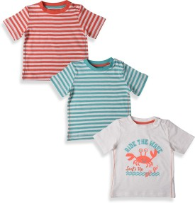 Mothercare Striped Boy's Round Neck Grey, Blue, Red T-Shirt Pack Of 3