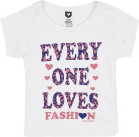 612 League Printed Girl's Round Neck White T-Shirt
