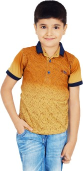 Naughty Ninos Printed Boy's Polo Neck Yellow T-Shirt