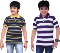 Dongli Striped Baby Boy's Polo Neck Purple, Black T-Shirt (Pack Of 2)