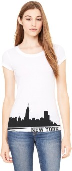 Black On White Graphic Print Women's Round Neck T-Shirt