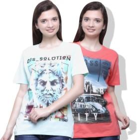 GO INDIA STORE Printed Women's Round Neck Pink, Green T-Shirt Pack Of 2