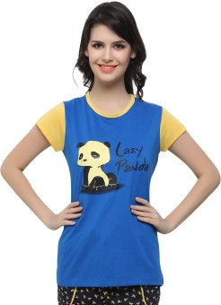 Clovia Graphic Print Women's Round Neck Blue, Yellow T-Shirt