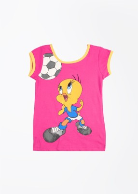 Tweety Tweety Printed Girl's Round Neck T-Shirt