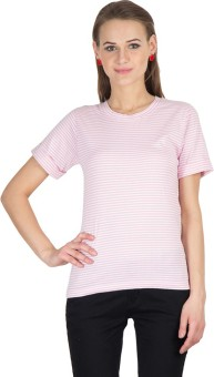 Hypernation Striped Women's Round Neck Pink, White T-Shirt