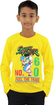 Kothari Printed Boy's Round Neck Yellow T-Shirt