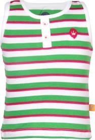 VITAMINS Striped Baby Girl's Round Neck Light Green T-Shirt