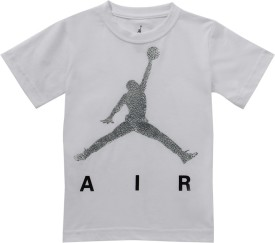 Jordan Graphic Print Boy's Round Neck White T-Shirt