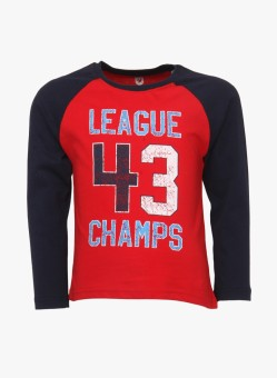 612 League Printed Boy's Round Neck Red T-Shirt