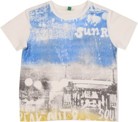 United Colors Of Benetton Printed Boy's Round Neck White T-Shirt