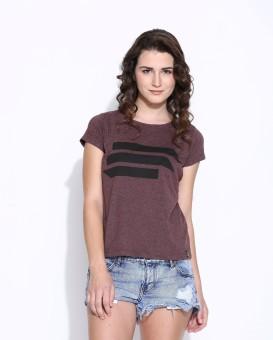 Cult Fiction Printed Women's Round Neck Purple T-Shirt