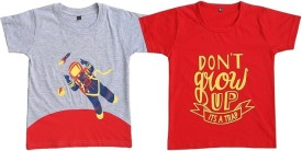 Be 13 Printed Boy's Round Neck Grey, Red T-Shirt Pack Of 2