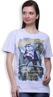 Go India Store Printed Women's Round Neck White T-Shirt
