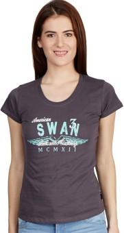 American Swan Printed Women's Henley Grey T-Shirt