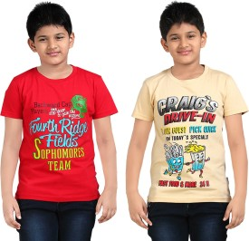 Dongli Printed Boy's Round Neck Beige, Red T-Shirt Pack Of 2