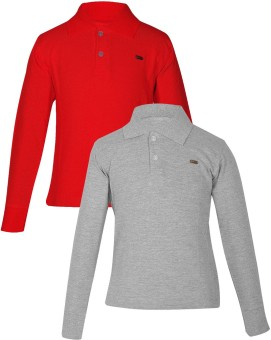 Gkidz Solid Boy's Polo Neck Red, Grey T-Shirt Pack Of 2