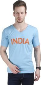 Stylogue Printed Men's V-neck Light Blue T-Shirt