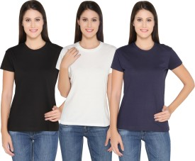 Ten On Ten Solid Women's Round Neck White, Black, Blue T-Shirt Pack Of 3