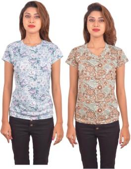 Blueash Floral Print Women's Round Neck, V-neck Light Blue, Light Green T-Shirt Pack Of 2