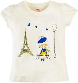 Oye Printed Girl's Round Neck White T-Shirt