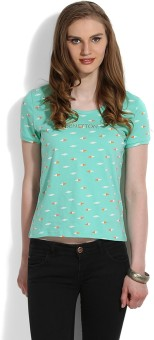 United Colors Of Benetton Printed Women's Round Neck Green T-Shirt