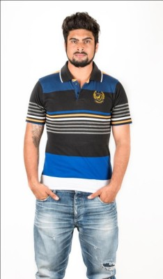 Navya Creations Striped Men's Polo Neck T-Shirt